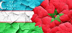 Uzbekistan flag with Morocco flag on a grunge cracked wall - stock illustration
