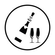 Party champagne and glass icon Piirros