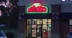 Papa Johns Pizza - Wide Shot - Exterior - Dusk - 4k Stock Footage