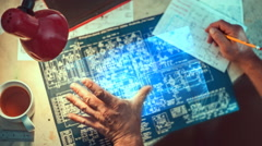 Working with holographic circuit diagram - stock footage