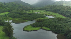 AERIAL: Beautiful view of small Hawaii valley and gorgeous mountains as backdrop Stock Footage