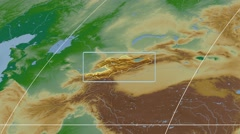 Kyrgyzstan - 3D tube zoom (Mollweide projection). Bumps shaded - stock footage