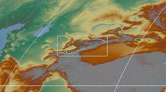 Kyrgyzstan - 3D tube zoom (Mollweide projection). Relief - stock footage
