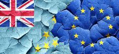 Tuvalu flag with european union flag on a grunge cracked wall - stock illustration