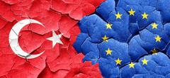 Turkey flag with european union flag on a grunge cracked wall - stock illustration