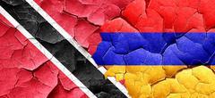 Trinidad and tobago flag with Armenia flag on a grunge cracked w - stock illustration