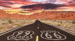 Route 66 Mojave Desert with Romanticized Sunrise Time Lapse Stock Footage
