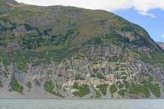 Eroded Mountain along a Glacial Fjord Stock Photos