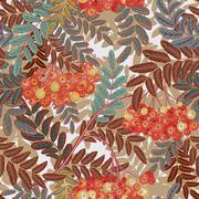 Seamless pattern with leaves and ash-berry rowanberry. Vector illustration Stock Illustration