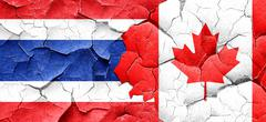 Thailand flag with Canada flag on a grunge cracked wall Stock Illustration
