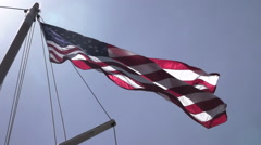 American Flag on Ship Mast Low Angle 480fps Stock Footage