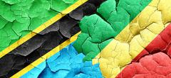 Tanzanian flag with congo flag on a grunge cracked wall Stock Illustration