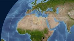 Libya - 3D tube zoom (Kavrayskiy VII projection). Satellite - stock footage