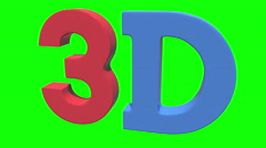 3D three-dimensional icon in red and blue colors - stock footage