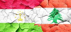 Tajikistan flag with Lebanon flag on a grunge cracked wall Stock Illustration