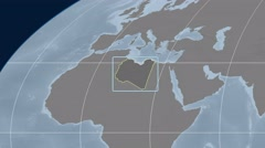 Libya - 3D tube zoom (Mollweide projection). Bumps - stock footage