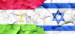 Tajikistan flag with Israel flag on a grunge cracked wall Stock Illustration