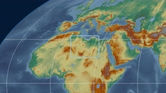 Libya - 3D tube zoom (Mollweide projection). Relief - stock footage