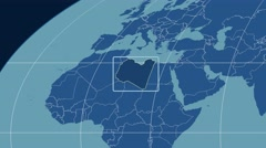 Libya - 3D tube zoom (Mollweide projection). Solids - stock footage