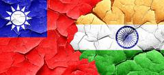 Taiwan flag with India flag on a grunge cracked wall - stock illustration