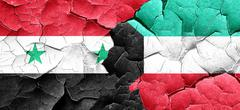 Syria flag with Kuwait flag on a grunge cracked wall Piirros