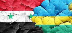 Syria flag with rwanda flag on a grunge cracked wall Stock Illustration