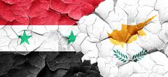 Syria flag with Cyprus flag on a grunge cracked wall Piirros