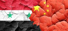 Syria flag with China flag on a grunge cracked wall Piirros
