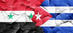 Syria flag with cuba flag on a grunge cracked wall Stock Illustration
