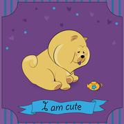 Cute Chow-chow with teapot Stock Illustration