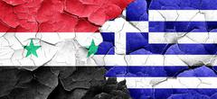Syria flag with Greece flag on a grunge cracked wall Stock Illustration