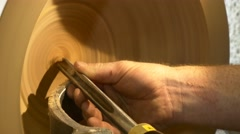 Carpenter working with sawing carving sanding piece wood machines cutting Stock Footage