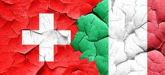 switzerland flag with Italy flag on a grunge cracked wall - stock illustration