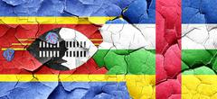 Swaziland flag with Central African Republic flag on a grunge cr Stock Illustration
