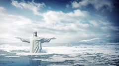 Statue Of Jesus In Rising Sea Levels Stock Footage