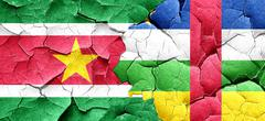 Suriname flag with Central African Republic flag on a grunge cra Stock Illustration