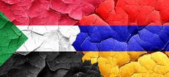 Sudan flag with Armenia flag on a grunge cracked wall - stock illustration