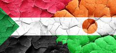 Sudan flag with Niger flag on a grunge cracked wall Stock Illustration