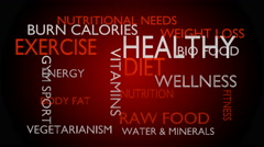 Healthy diet word tag cloud, red variant, 3D rendering - stock footage