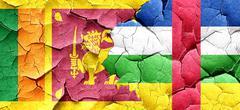 Sri lanka flag with Central African Republic flag on a grunge cr - stock illustration