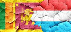 Sri lanka flag with Luxembourg flag on a grunge cracked wall - stock illustration