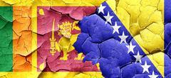 Sri lanka flag with Bosnia and Herzegovina flag on a grunge crac Stock Illustration
