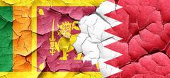 Sri lanka flag with Bahrain flag on a grunge cracked wall - stock illustration