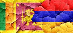 Sri lanka flag with Armenia flag on a grunge cracked wall - stock illustration