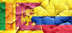 Sri lanka flag with Colombia flag on a grunge cracked wall Stock Illustration