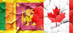 Sri lanka flag with Canada flag on a grunge cracked wall Stock Illustration