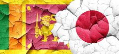 Sri lanka flag with Japan flag on a grunge cracked wall Stock Illustration