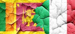 Sri lanka flag with Italy flag on a grunge cracked wall Stock Illustration