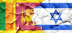 Sri lanka flag with Israel flag on a grunge cracked wall Piirros