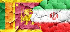Sri lanka flag with Iran flag on a grunge cracked wall Stock Illustration